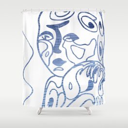 Water Child Blue-Silver Foil Shower Curtain