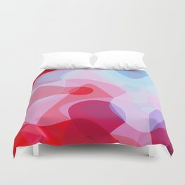 Bubbly Geometry - Red, Pink and Blue Duvet Cover