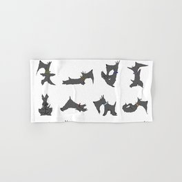 scottie yoga pose artwork Hand & Bath Towel