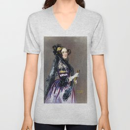 Portrait of Ada Lovelace by Alfred Edward Chalon Unisex V-Neck