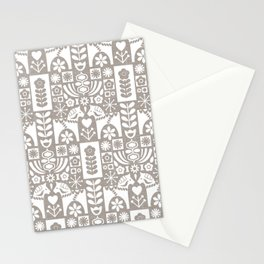 Swedish Folk Art - Warm Gray Stationery Cards