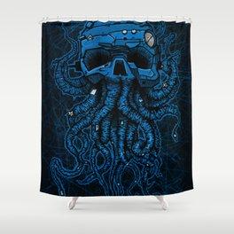 blue kraken skull Shower Curtain