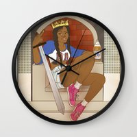 kendrawcandraw Wall Clocks featuring Queen of Swords - Azealia Banks by kendrawcandraw