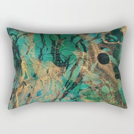Green and Gold marbled paper Rectangular Pillow
