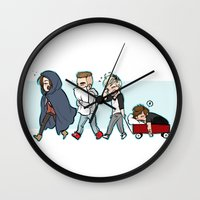 kendrawcandraw Wall Clocks featuring Sleepy Time by kendrawcandraw