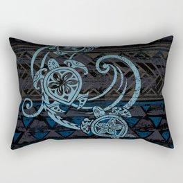 Hawaiian Teal Tribal Turtles Rectangular Pillow