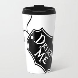 """""""Drink Me"""" Alice in Wonderland styled Bottle Tag Design in Black & White Travel Mug"""