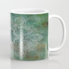 Silver White Floral Mandala on Green Textured Background Coffee Mug