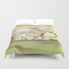 Colorful Mom and Baby Elephant 2 Duvet Cover