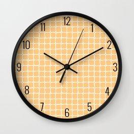 Hand Drawn Yellow Grid Pattern Wall Clock