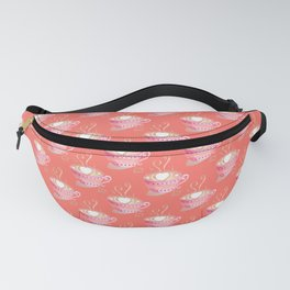 Pink cup of coffee pattern on coral background Fanny Pack