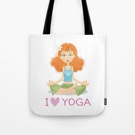 Smiling Girl practising Yoga Lotus Pose Tote Bag