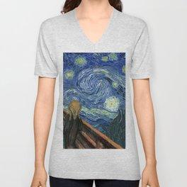 The Scream Starry Night Edvard Munch Vincent Van Gogh Unisex V-Neck