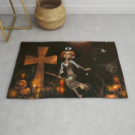 Cute little witch in the night Rug