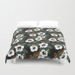 Sloth and Hibiscus Flowers Duvet Cover