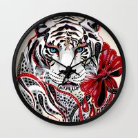 tiger Wall Clocks featuring White Tiger by Felicia Atanasiu
