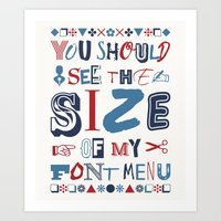 font Art Prints featuring Font Menu by Word Quirk
