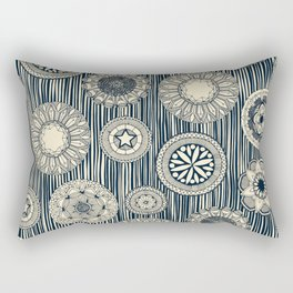 mandala cirque spot indigo cream Rectangular Pillow