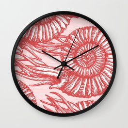 AMMONITE COLLECTION RED Wall Clock