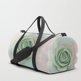 Elegant Painterly Mint Green Rose Abstract Duffle Bag