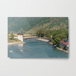Bridge to Punakha Dzong in Bhutan Metal Print