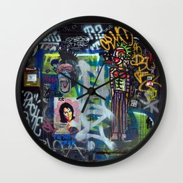 Vibrant colourful graffiti photo Wall Clock