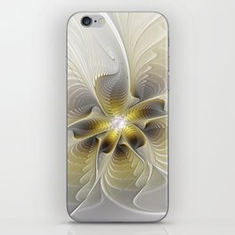 Gold And Silver, Abstract Flower Fractal iPhone Skin