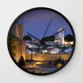 Braganca castle at dusk, Portugal Wall Clock