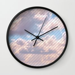 Light Gray Striped Clouds Wall Clock