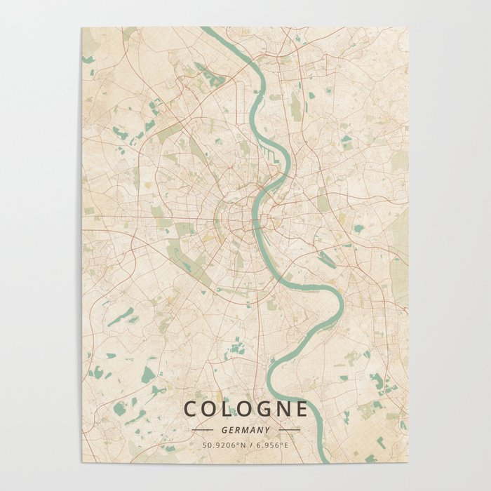 Map Of Germany Showing Cologne.Cologne Germany Vintage Map Poster By Designermapart