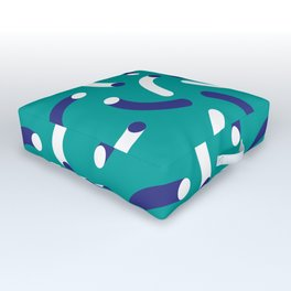 Funny worms on green pattern Outdoor Floor Cushion