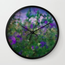 Painted Blue And Green Water Reflection  Wall Clock