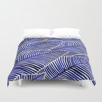 navy Duvet Covers featuring Tropical Navy by Cat Coquillette