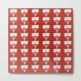Brick Arts and Crafts Dragonflies Metal Print