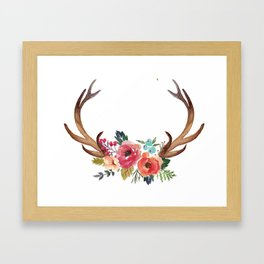 Floral Deer Antlers Framed Art Print