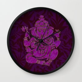 Ganesha Elephant God Purple And Pink Wall Clock