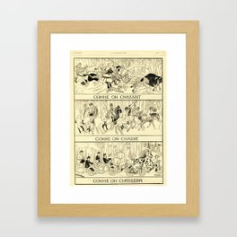 """As We Hunt"" Comme On Chasse, Classic 19th Century French Newspaper Cartoon Framed Art Print"