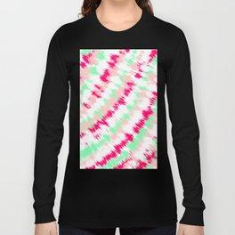 Modern boho neon pink turquoise tie dye summer pattern Long Sleeve T-shirt