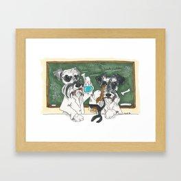 Schnauzer Scientists Framed Art Print