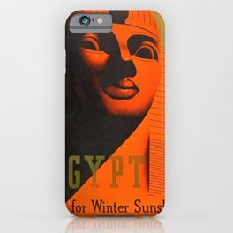 1930's Art Deco Travel Poster - Egypt for Winter Sunshine featuring Great Sphinx of Giza iPhone Case