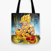 dragon ball Tote Bags featuring goku ball z design by customgift