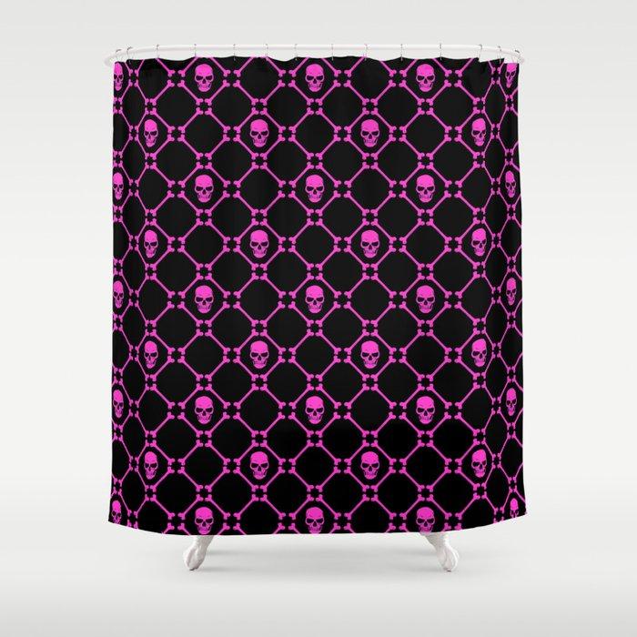 Skulls And Bones Hot Pink On Black Shower Curtain