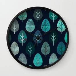 Watercolor Forest Pattern #7 Wall Clock