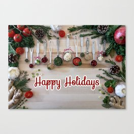 Happy holidays with spoons Canvas Print