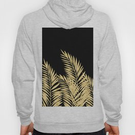 Palm Leaves Golden On Black Hoody