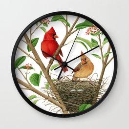 Northern Cardinals Wall Clock