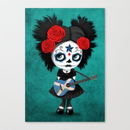 Day of the Dead Girl Playing Scottish Flag Guitar Canvas Print