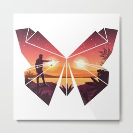 Origami Butterfly Metal Print