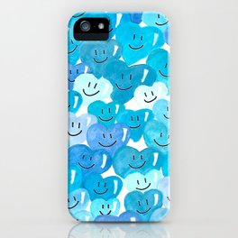 Happy hearts in blue. iPhone Case