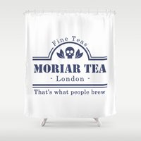 moriarty Shower Curtains featuring MoriarTea by sirwatson